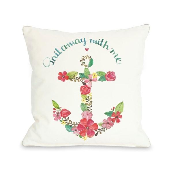 Sail Away Anchor - White Multi Pillow by Ana Victoria Calderon
