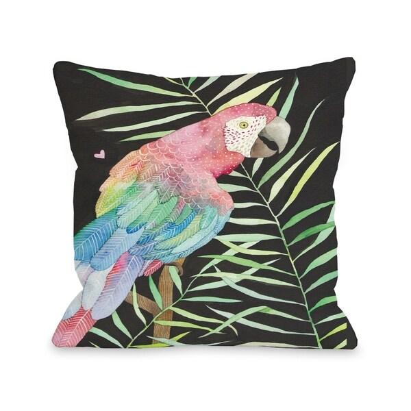 Parrot - Black Multi Pillow by Ana Victoria Calderon