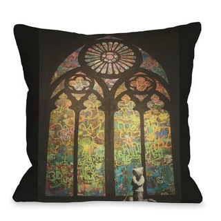 Stained Glass Graffiti  Pillow by Banksy