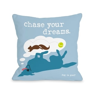 Chase Dreams - Blue  Pillow by Dog is Good