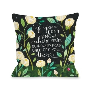 Any Road Florals - Black Multi  Pillow by Ana Victoria Calderon