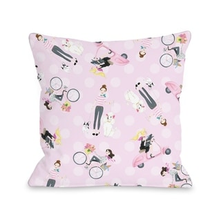 Moped Bike Dogs - Pink Multi  Pillow by Pinklight Studio - April Heather Art