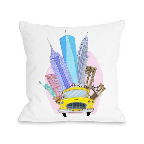 Love from NYC 11 Taxi NYC Landmarks - White Multi Pillow by Pinklight Studio - April Heather Art