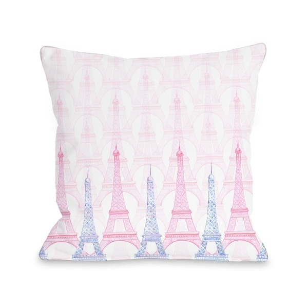Eiffel Tower - White Multi Pillow by Pinklight Studio - April Heather Art