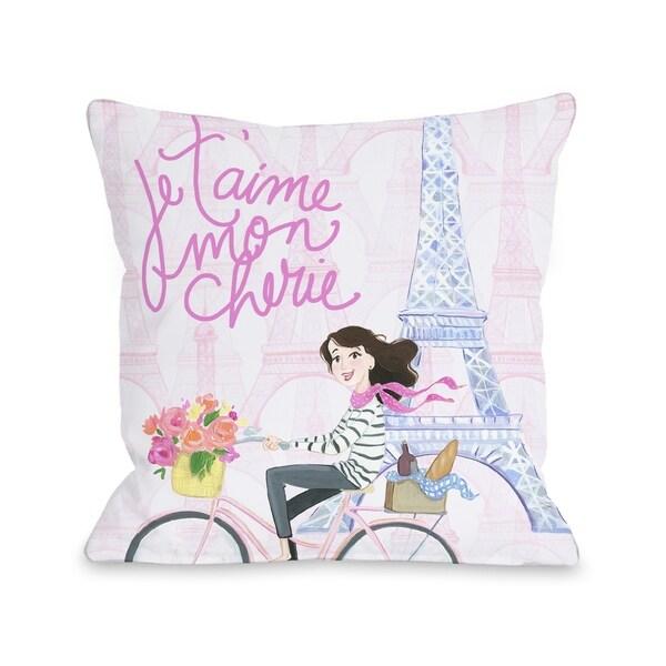 Je Taime Mon Cherie - Pink Multi Pillow by Pinklight Studio - April Heather Art
