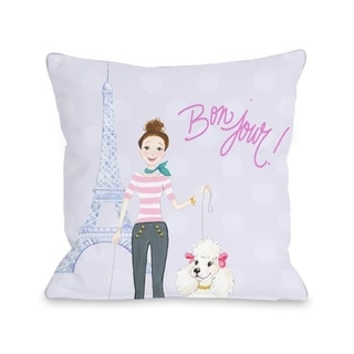 Bonjour Eiffel Tower Poodle - Lavendar Multi  Pillow by Pinklight Studio - April Heather Art