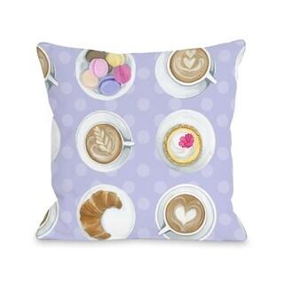 Coffee Cupcake Macaroons - Purple Multi  Pillow by Pinklight Studio - April Heather Art