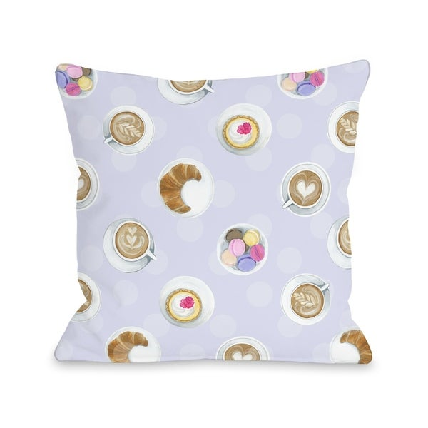 Mini Coffee Cupcake Macaroons - Lavendar Multi Pillow by Pinklight Studio - April Heather Art