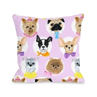 Love from NYC 10 Dogs - Pink Multi  Pillow by Pinklight Studio - April Heather Art