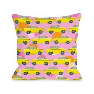 Love from NYC 12 Taxi - Pink Multi  Pillow by Pinklight Studio - April Heather Art