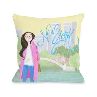 Love from NYC 24 New York Girl - Multi  Pillow by Pinklight Studio - April Heather Art