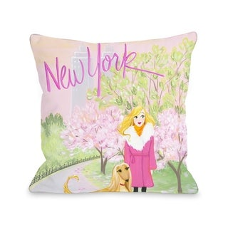 Love from NYC 25 New York Girl Dog - Multi  Pillow by Pinklight Studio - April Heather Art