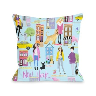Love from NYC 19 Pattern - Pink Multi  Pillow by Pinklight Studio - April Heather Art