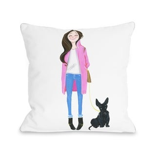 Love from NYC 4 Girl Dog - Multi  Pillow by Pinklight Studio - April Heather Art