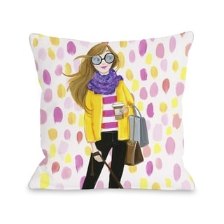 Love from NYC 6 Paintdots Girl - Multi  Pillow by Pinklight Studio - April Heather Art