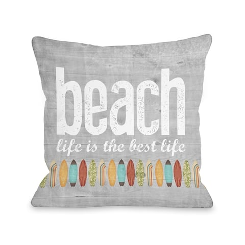 Beach Life - Gray Pillow by