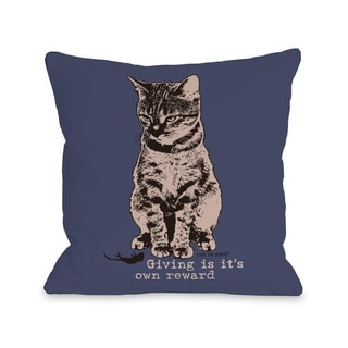 Giving is its Own Reward - Indigo Tan  Pillow by Dog is Good