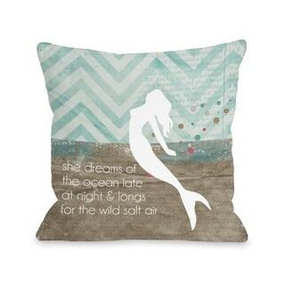 Mermaid Wild Salt Air - Multi  Pillow by Cheryl Overton