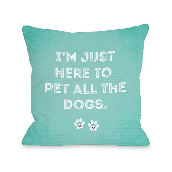Pet All The Dogs - Blue Pillow by Cheryl Overton
