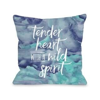 Tender Heart Wild Spirit - Blue  Pillow by Cheryl Overton