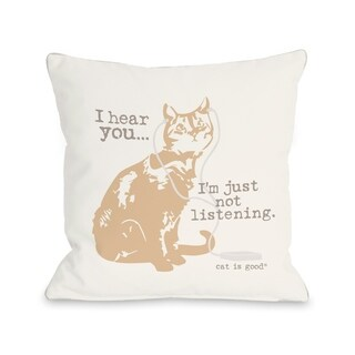 Not Listening Cat - Ivory  Pillow by Dog is Good