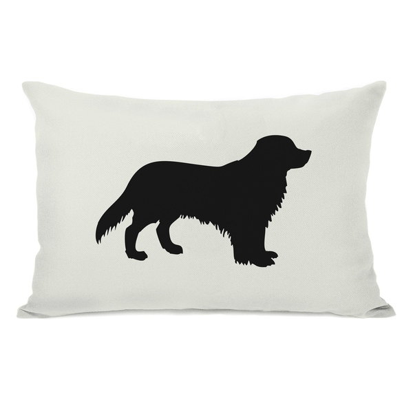 Shop Golden Retriever Silhouette Ivory Black 14x20 Pillow By Obc