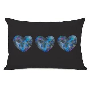 Triple Cosmic Heart - Black Multi 14x20 Pillow by Ana Victoria Calderon