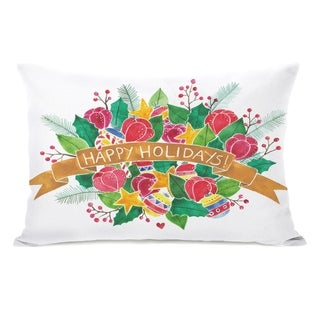 Happy Holidays Bouquet - White Multi 14x20 Pillow by Ana Victoria Calderon