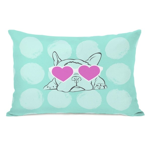 Puppy Love - Aqua Multi 14x20 Pillow by OBC