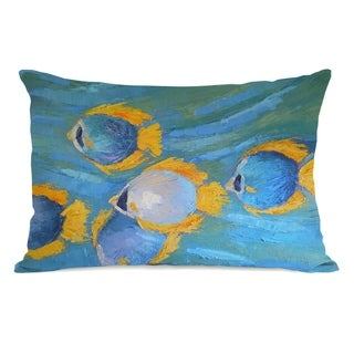 Fish School - Multi 14x20 Pillow by Carol Schiff