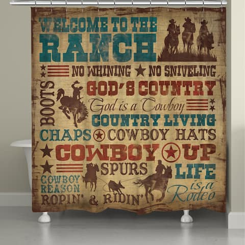 Laural Home Rodeo Words Shower Curtain