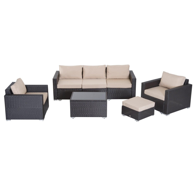 Terrific Outsunny 5 Piece Outdoor Patio Rattan Wicker Sofa Sectional Furniture Set Deep Coffee Beige Creativecarmelina Interior Chair Design Creativecarmelinacom