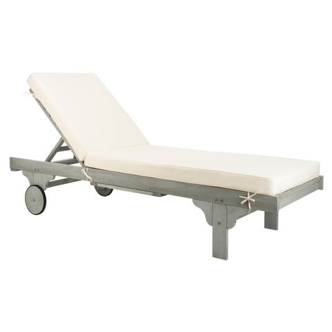 """Safavieh Outdoor Living Newport Chaise Lounge Chair With Side Table - Ash Grey / White - 27.6"""" x 78.7"""" x 14.2"""""""