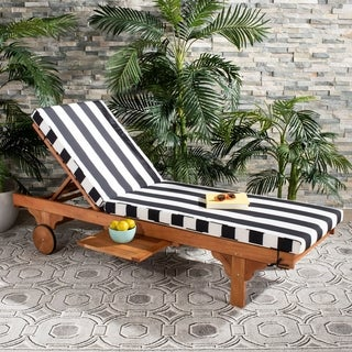 "Safavieh Outdoor Living Newport Ash Black/ White Stripe Cart-Wheel Adjustable Chaise Lounge Chair - 27.6"" x 78.7"" x 14.2"""