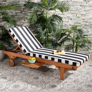 "Safavieh Outdoor Living Newport Chaise Lounge Chair With Side Table - Black / White - 27.6"" x 78.7"" x 14.2"""