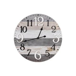 UTC57506 Wood Wall Clock Natural Painted Finish Multi-Colored