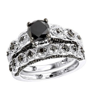 10k Gold Black Diamond Infinity Engagement Ring Set 1.5ctw by Luxurman