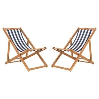 Safavieh Outdoor Living Loren Foldable Sling Chair - Navy / White
