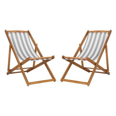 Safavieh Outdoor Living Loren Foldable Sling Chair - Grey / White (Set of 2)