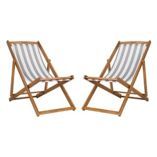 Link to Safavieh Outdoor Living Loren Foldable Sling Chair - Grey / White (Set of 2) Similar Items in Patio Furniture