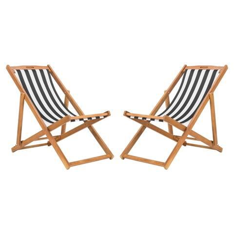 Safavieh Outdoor Living Loren Foldable Sling Chair - Black / White (Set of 2)