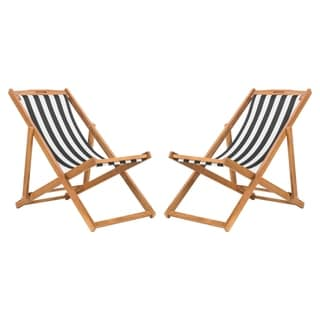 Link to Safavieh Outdoor Living Loren Foldable Sling Chair - Black / White (Set of 2) Similar Items in Patio Furniture
