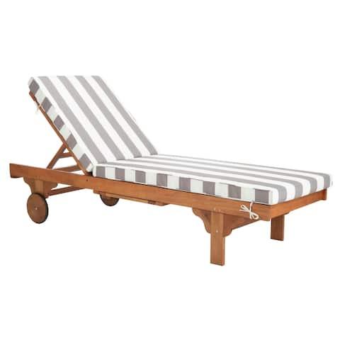 "Safavieh Outdoor Living Newport Grey/ White Stripe Cart-Wheel Adjustable Chaise Lounge Chair - 27.6"" x 78.7"" x 14.2"""