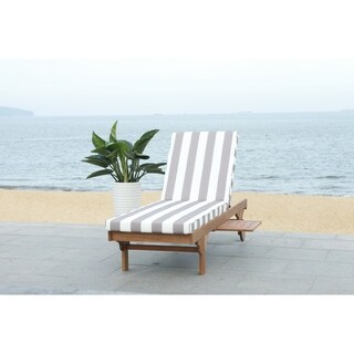 """Safavieh Outdoor Living Newport Chaise Lounge Chair With Side Table - Grey / White - 27.6"""" x 78.7"""" x 14.2"""""""