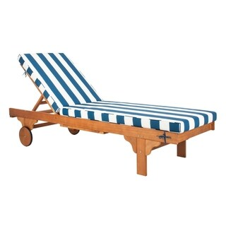 """Safavieh Outdoor Living Newport Chaise Lounge Chair With Side Table - Navy / White - 27.6"""" x 78.7"""" x 14.2"""""""