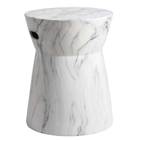 Attractive Safavieh 19 Inch Balboa Marble Indoor / Outdoor Garden Stool   White / Black