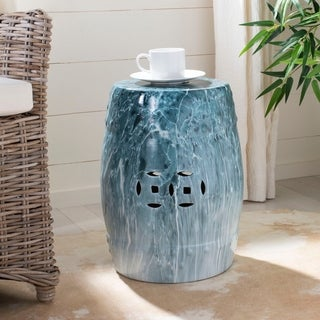 Link to Safavieh 18-inch Gilroy Marble Indoor / Outdoor Decorative Garden Stool - Blue Similar Items in Outdoor Decor