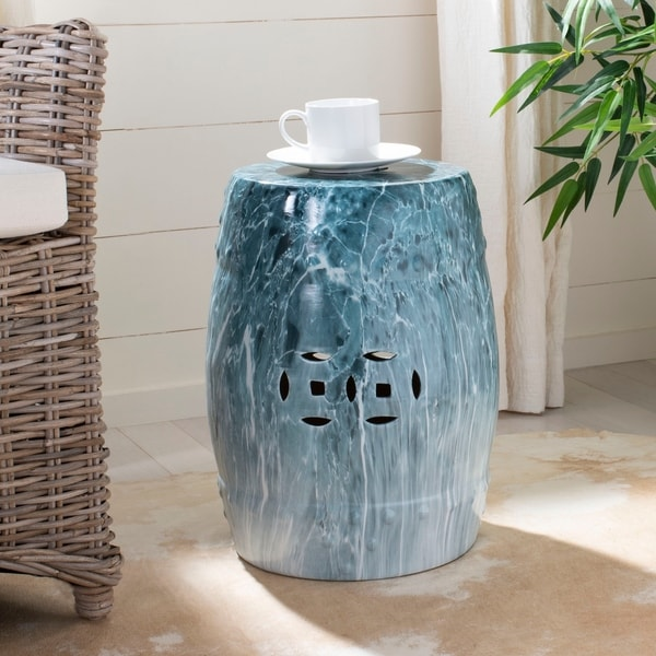 Safavieh 18 Inch Gilroy Marble Indoor / Outdoor Garden Stool   Blue