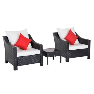 Outsunny 3 Piece Outdoor Patio Rattan Wicker Table and Chair Set Cushioned