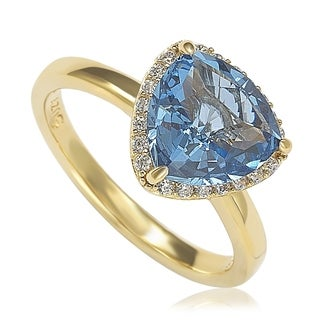 Suzy Levian Goldplated Sterling Silver Aqua Cubic Zirconia Trillion-Cut Ring (More options available)